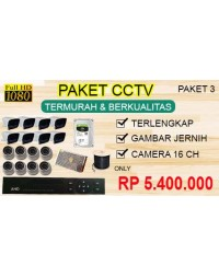 [PAKET 3] PAKET CCTV TERLENGKAP SIAP PASANG 16 CHANNEL 2MP 1080P HD TERMURAH