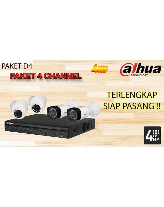 [PAKET D4] PAKET CCTV TERLENGKAP SIAP PASANG DAHUA 4 CHANNEL 1400RP 4MP HD TERMURAH
