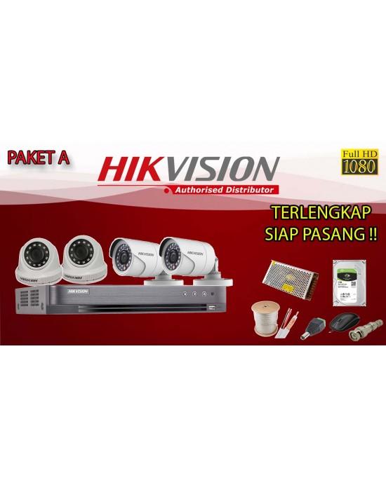[PAKET A] PAKET CCTV TERLENGKAP SIAP PASANG HIKVISION 4 CHANNEL 2MP 1080P HD TERMURAH