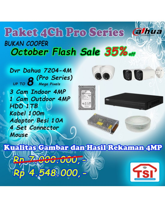 Paket CCTV Dahua Pro 4ch  upto 8mp (Flash Sale 11.11)